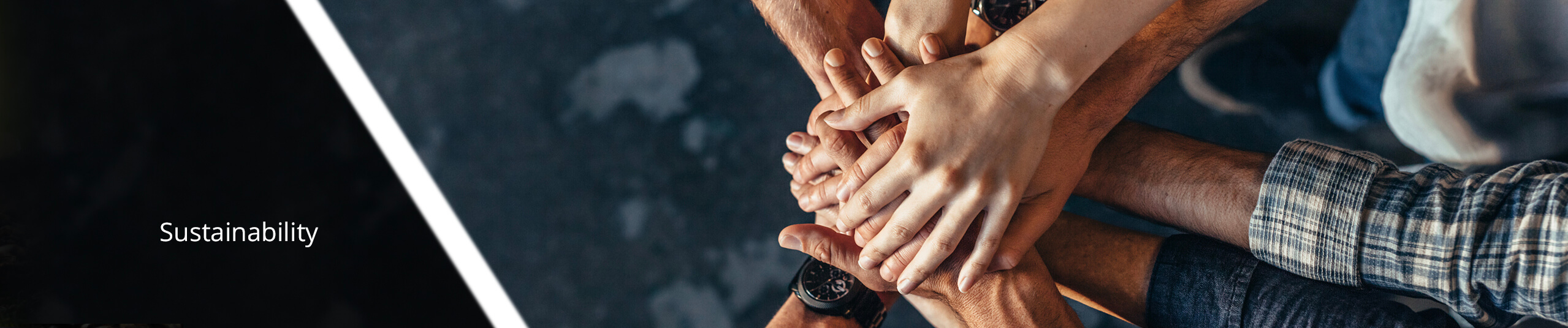 Professional group stacking hands, showing teamwork